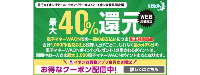 WAON、花王商品を購入すると最大40%還元!12/1から