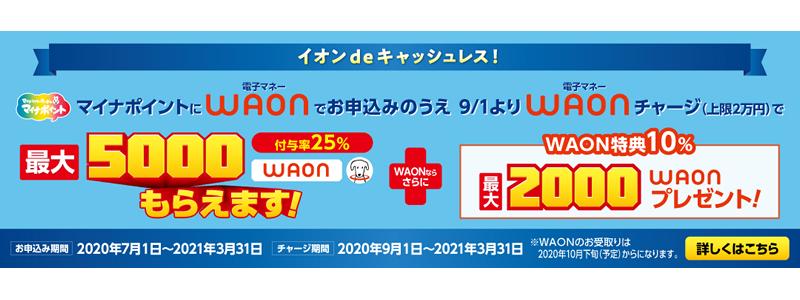 WAON、マイナポイント申込でWAON特典10%最大2000WAONがもらえる!