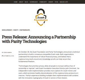 Zcash Foundation Blog:Press Release: Announcing a Partnership with Parity Technologies